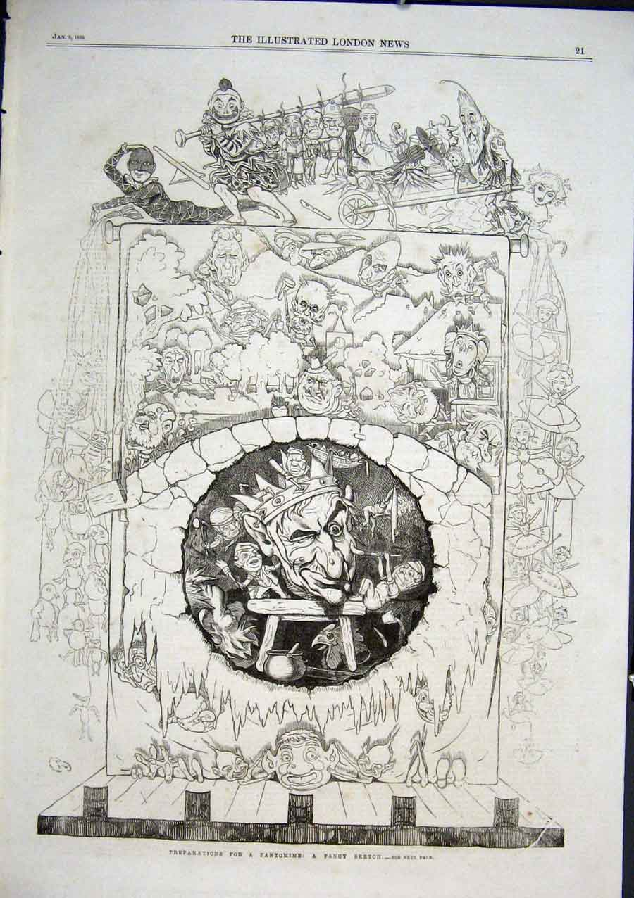Print Preparations For A Pantomime 1866 Fancy Sketch 21Aaa0 Old Original