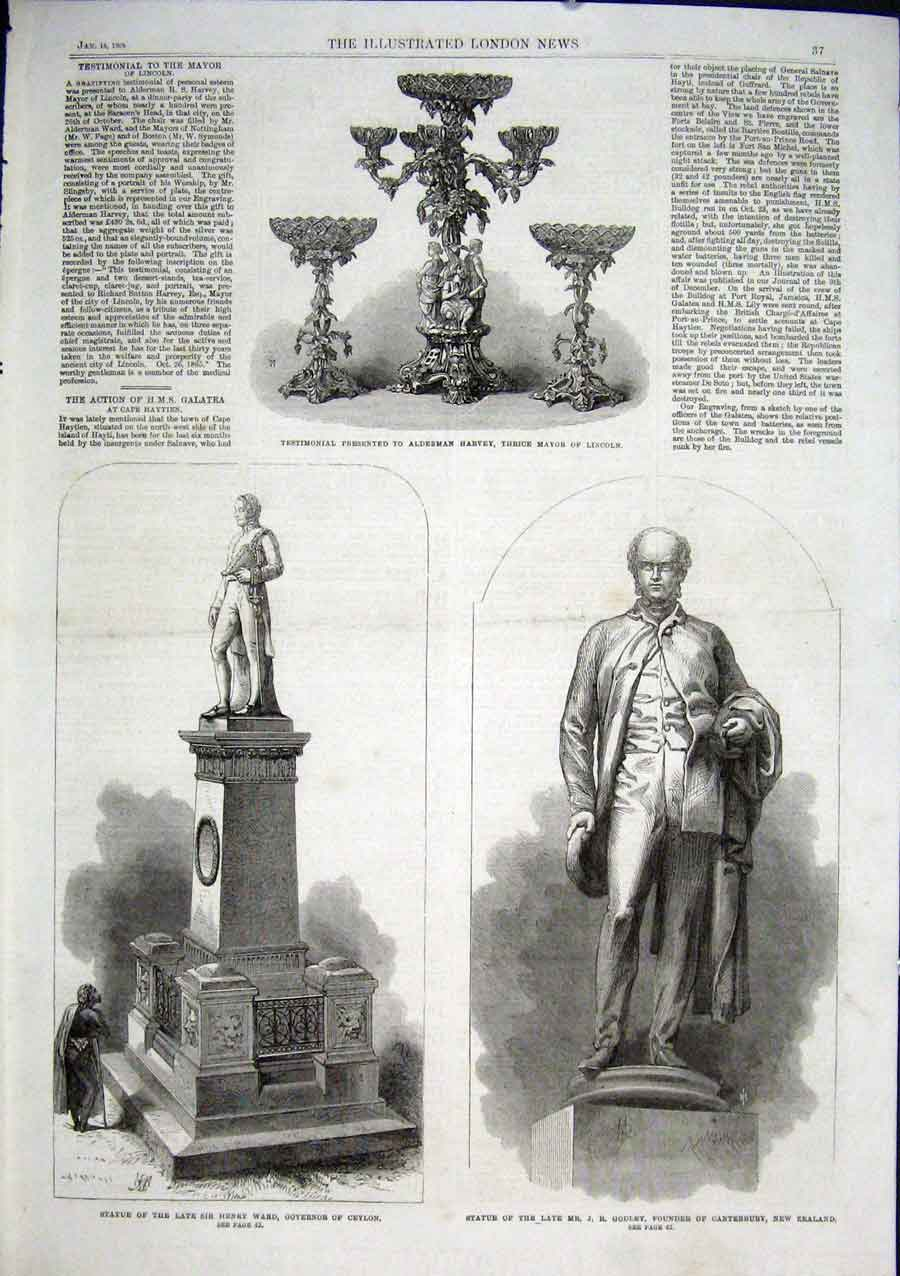 Print Statue Ward Governor Ceylon Godley Canterbury Nz 1866 37Aaa0 Old Original