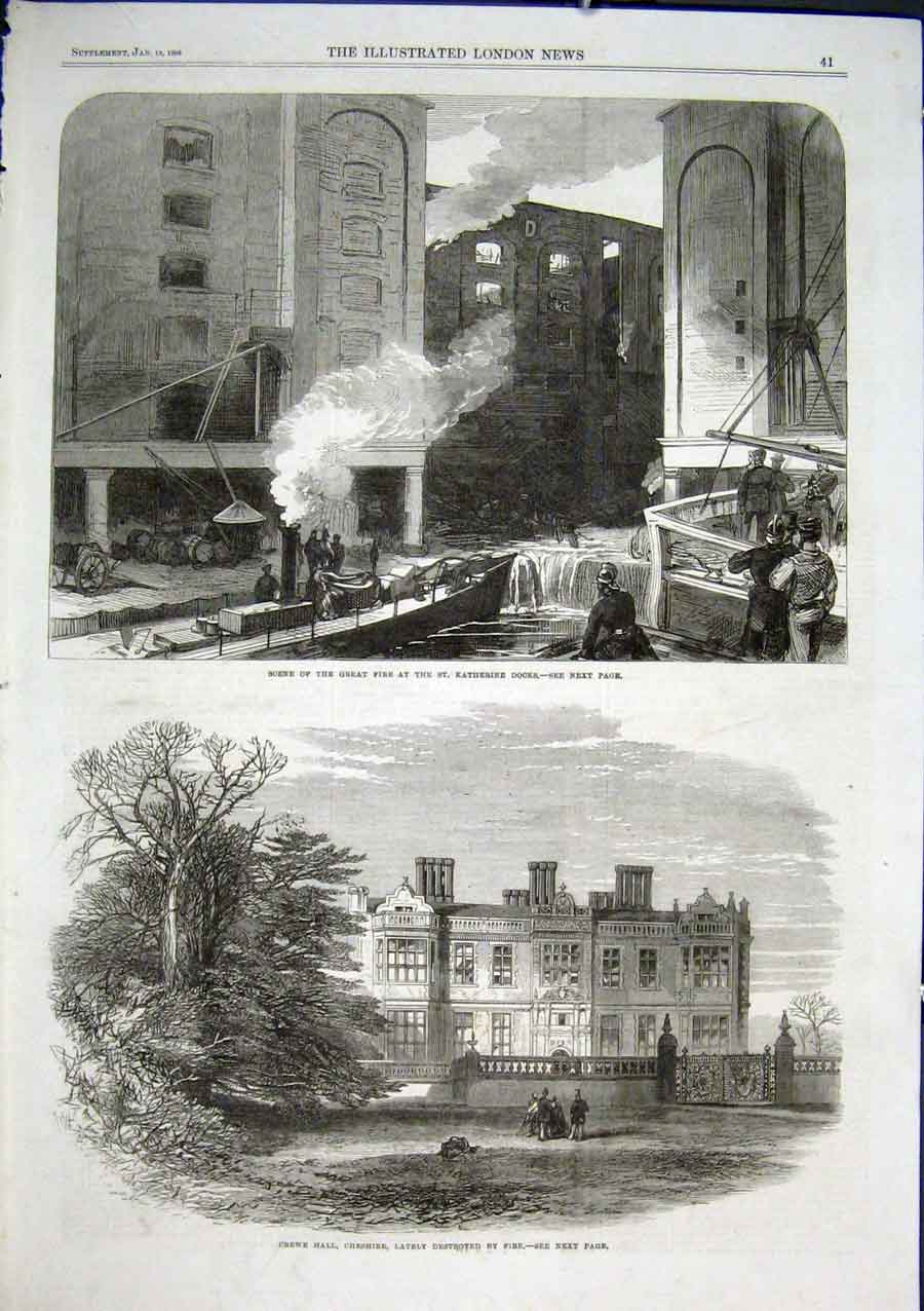 Print Fire St Katherine Docks Fire At Crewe Hall Cheshire 18 41Aaa0 Old Original