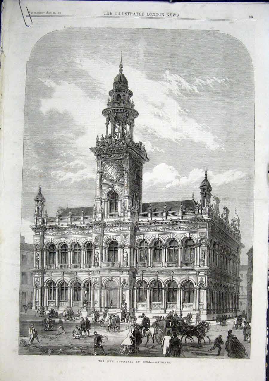 Print New Townhall Hull 1866 93Aaaa0 Old Original
