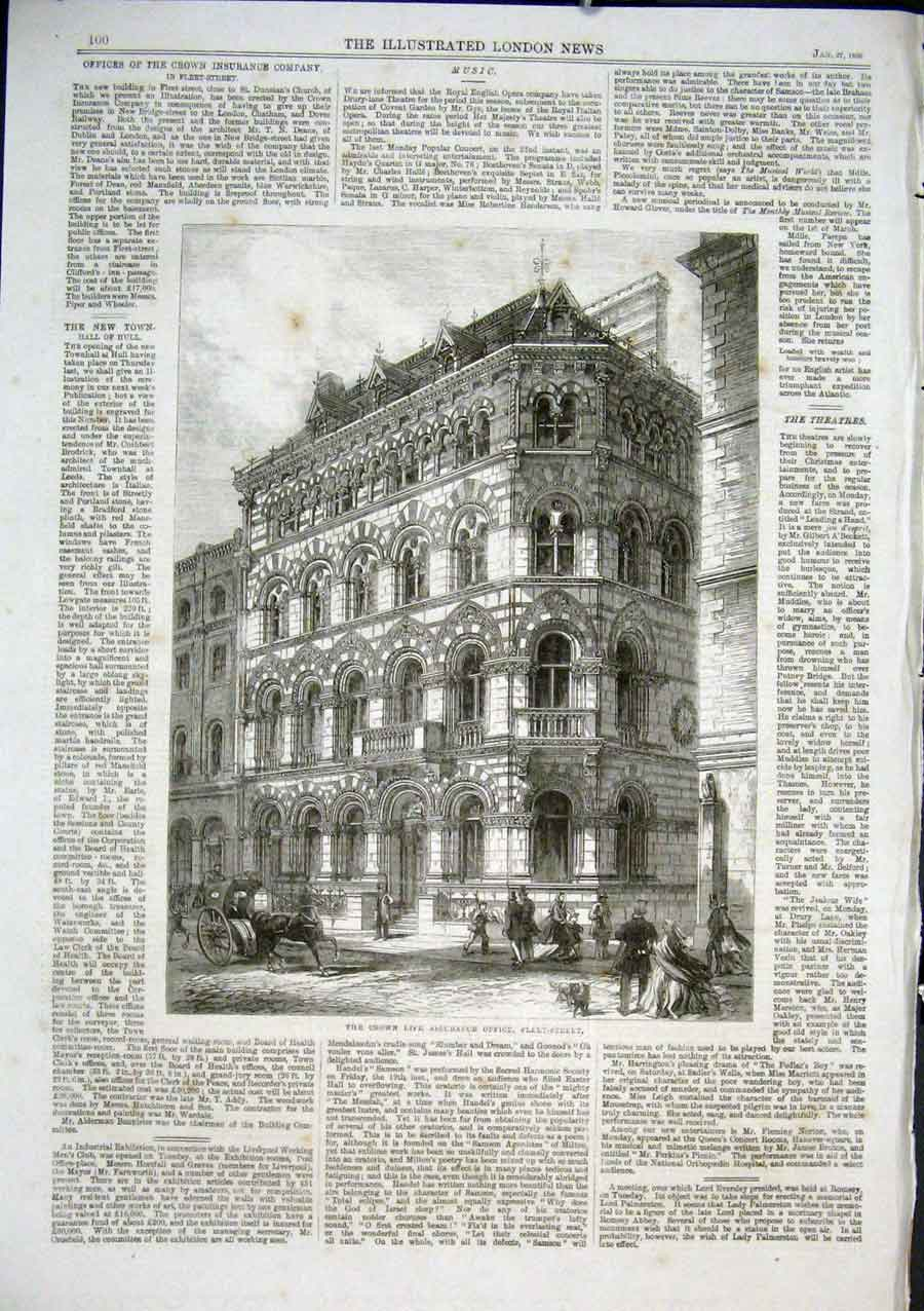 Print Crown Life Assurance Office Fleet Street 1866 00Aaa0 Old Original