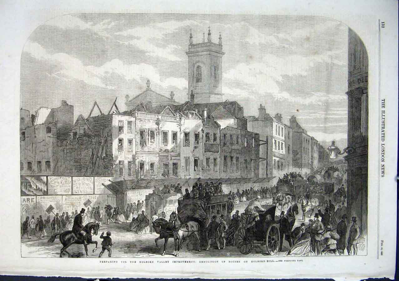 Print Demolition Houses Holborn Hill 1866 London 32Aaa0 Old Original