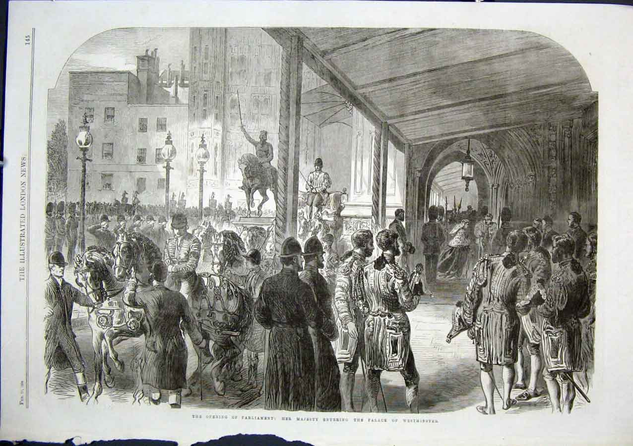 Print Queen Enters Palace Westminster Opening Parliament 186 45Aaa0 Old Original