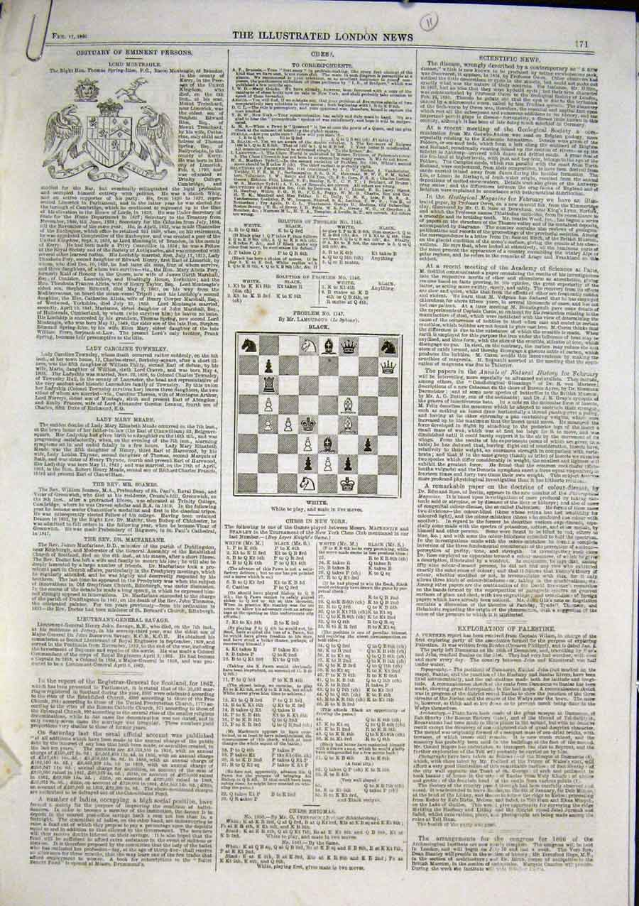 Print Chess Problems & Solutions 1866 71Aaa0 Old Original