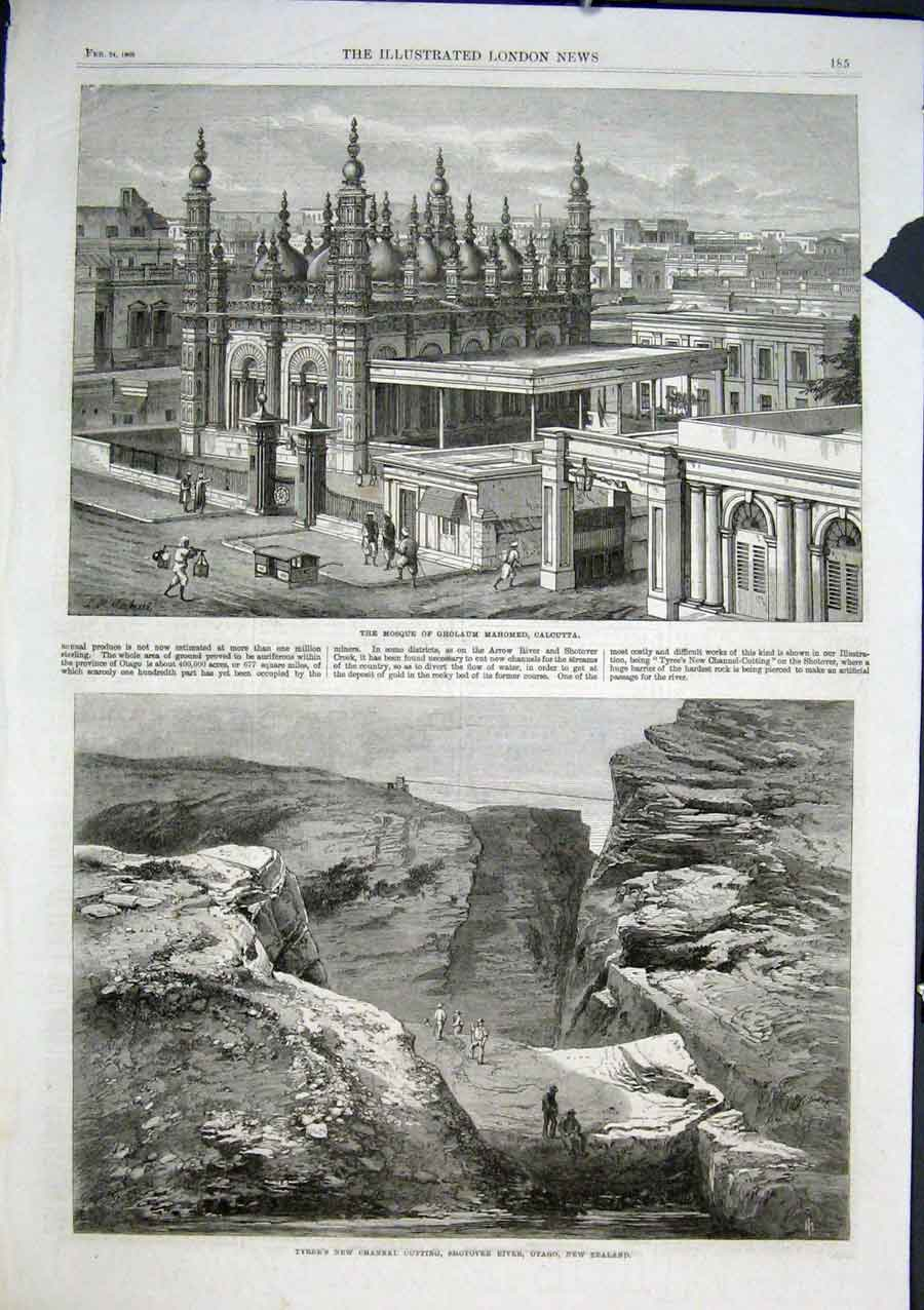 Print Mosque Gholaum Calcutta Shotover River Otago Nz 85Aaa0 Old Original