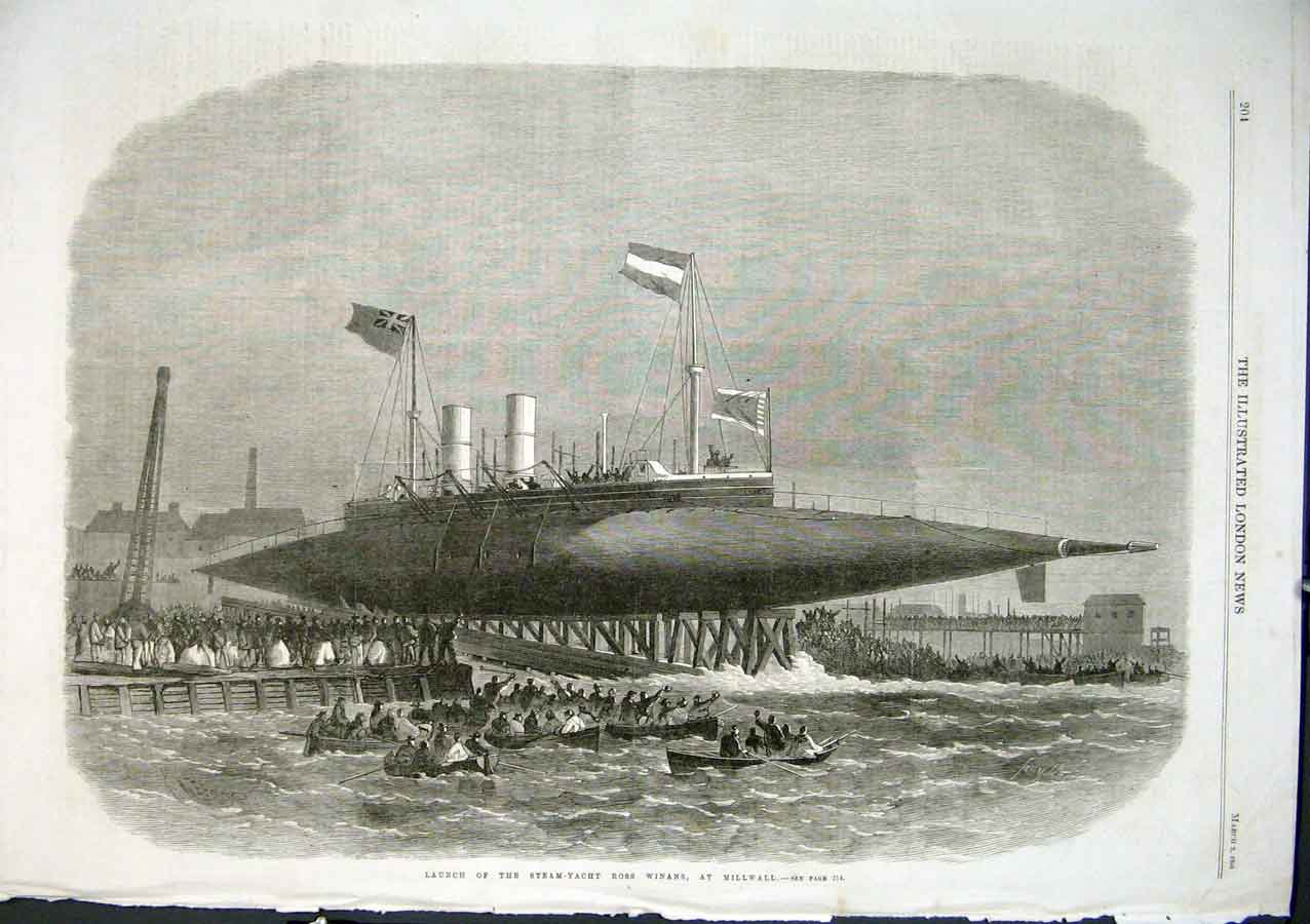 Print Launch Steam Yacht Rosws Winans At Millwall 1866 Ships 04Aaa0 Old Original