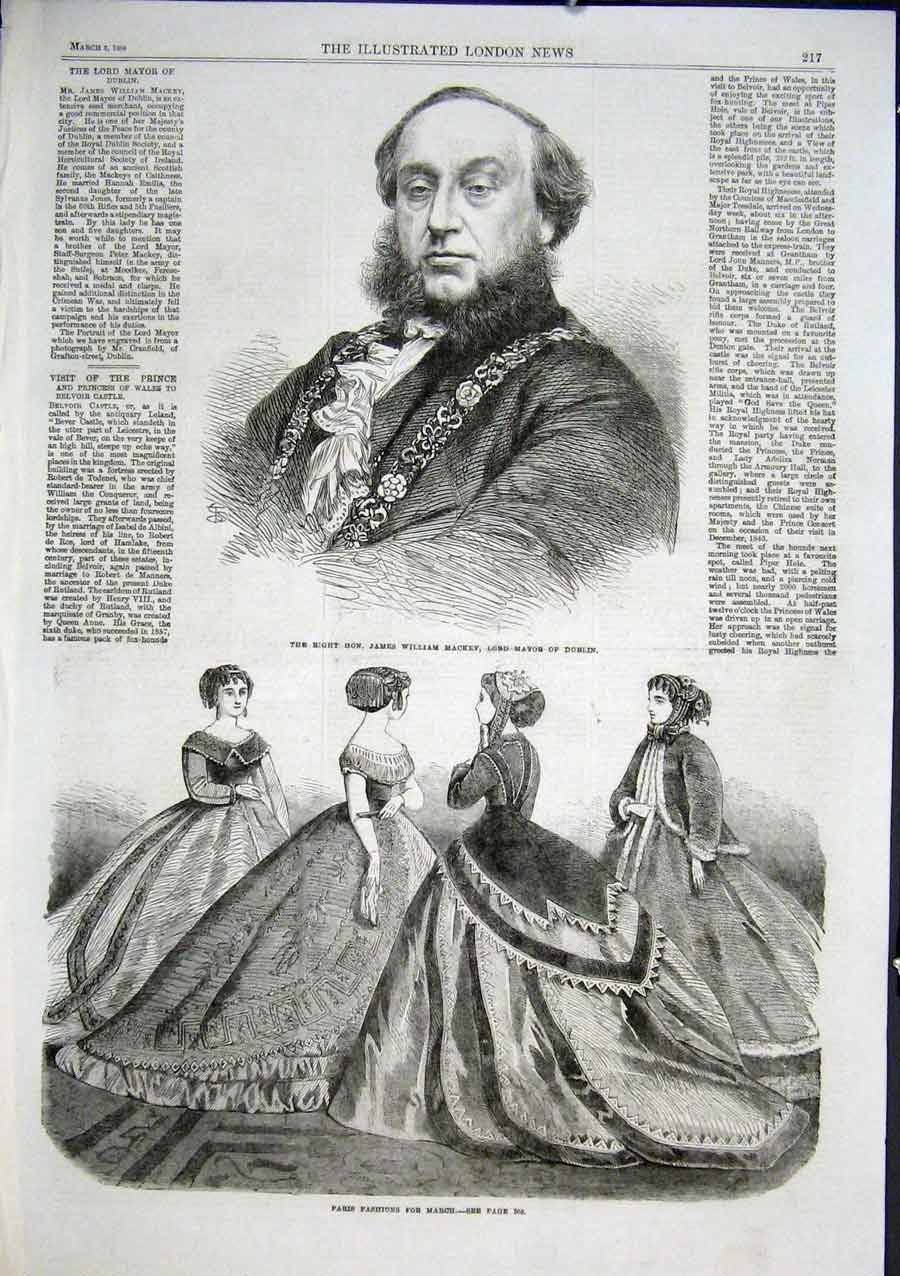 Print James William Mackey Lord Mayor Dublin 1866 Ireland 17Aaa0 Old Original