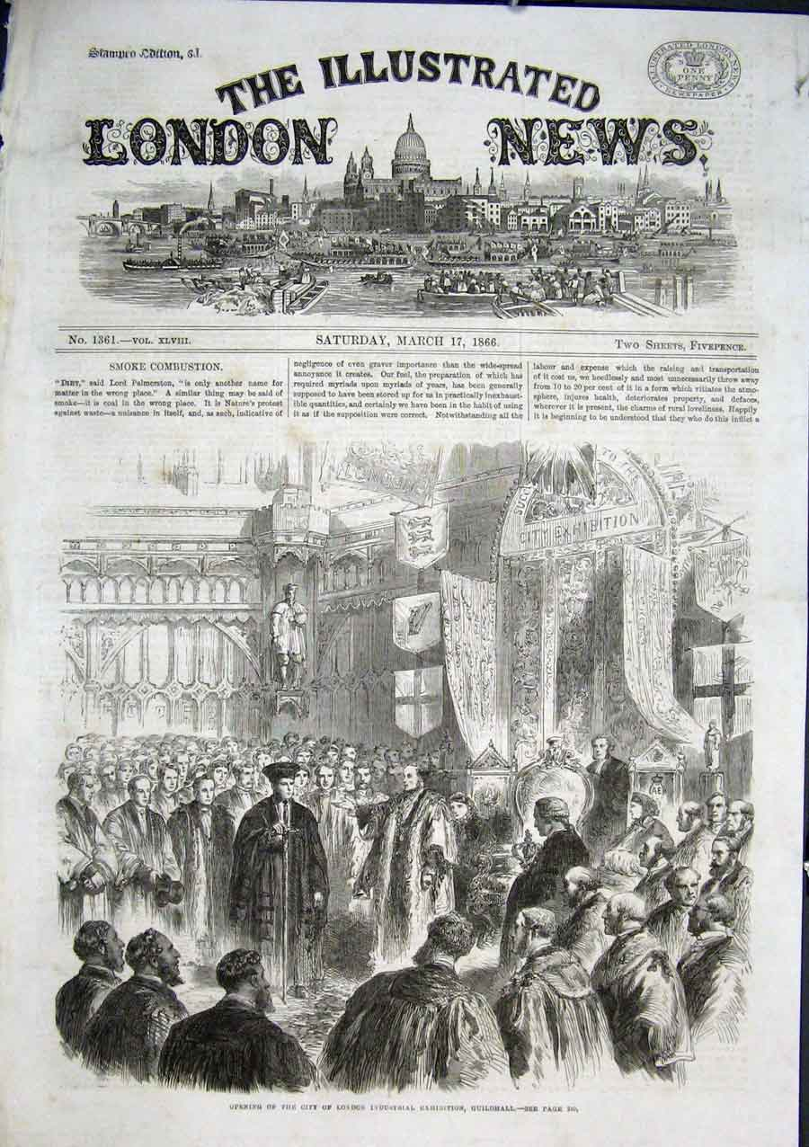 Print Opening City London Industrail Exhibition 1866 46Aaa0 Old Original