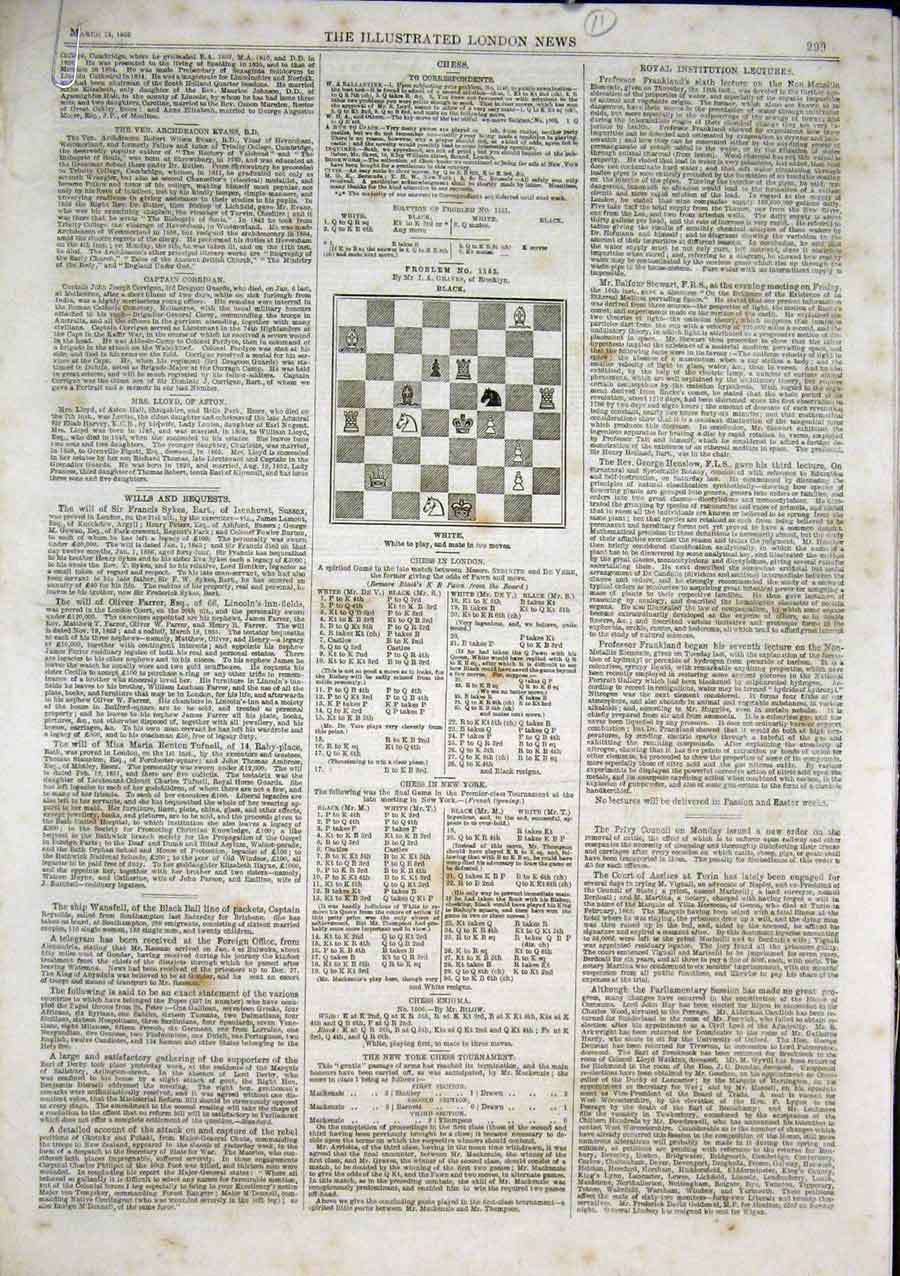 Print Chess Problems & Solutions 1866 11 Pp 99Aaa0 Old Original