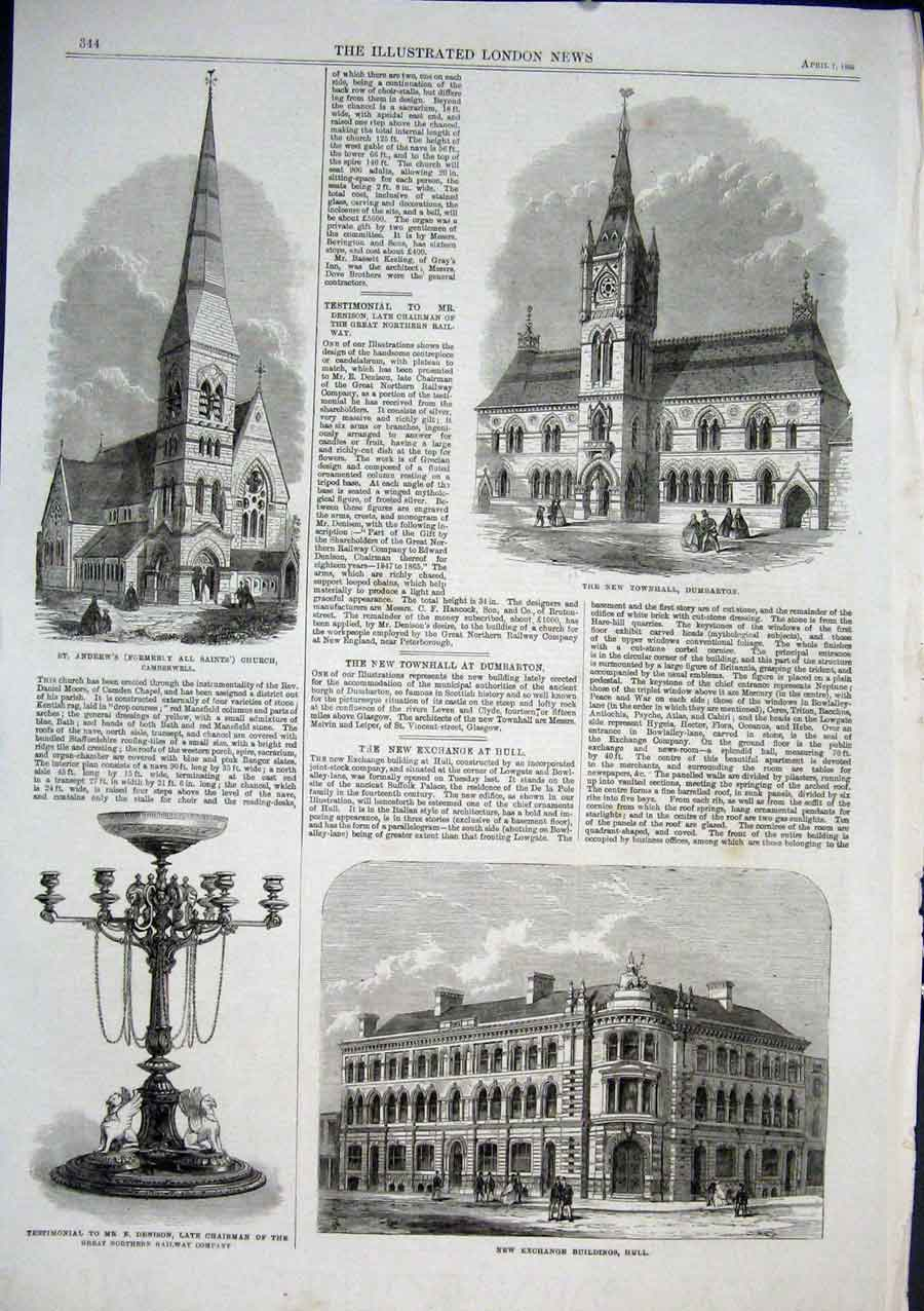 Print Townhall Dumbarton St Andrews Church Camberwell 1866 44Aaa0 Old Original