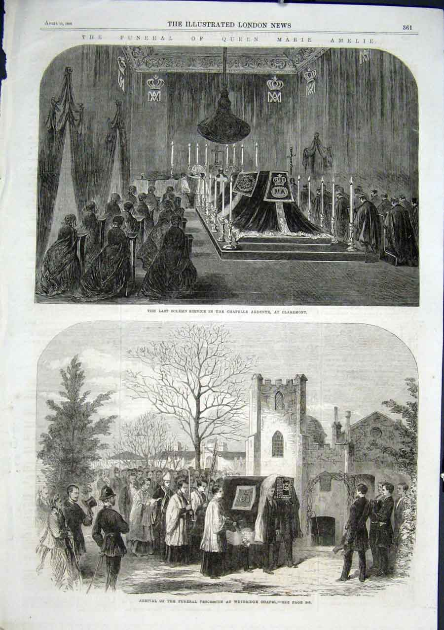 Print Funeral Queen Marie Amelie Weybridge Chapel 1866 61Aaa0 Old Original