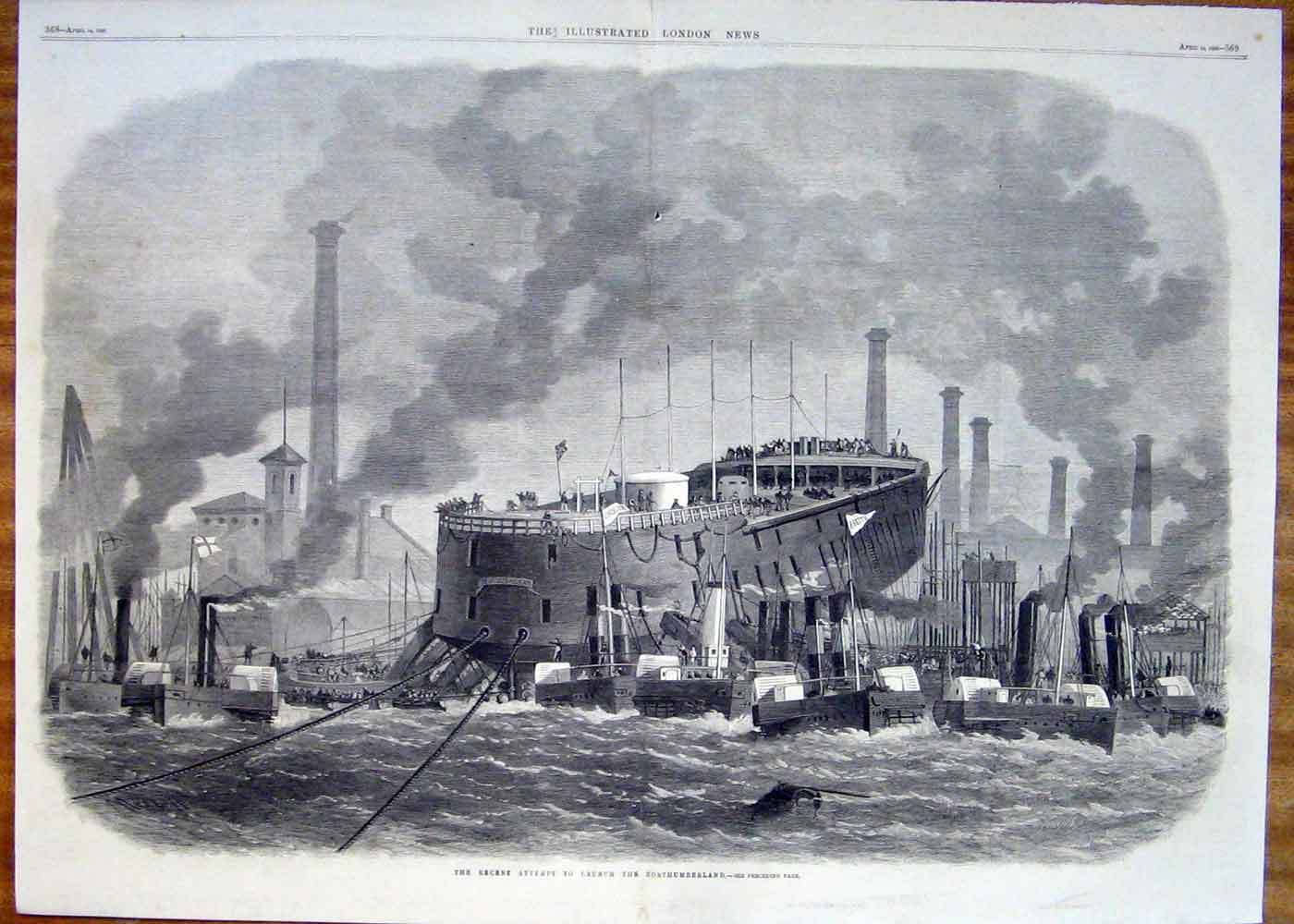 Print Attempt To Launch Ship Northumberland 1866 67Taaa0 Old Original