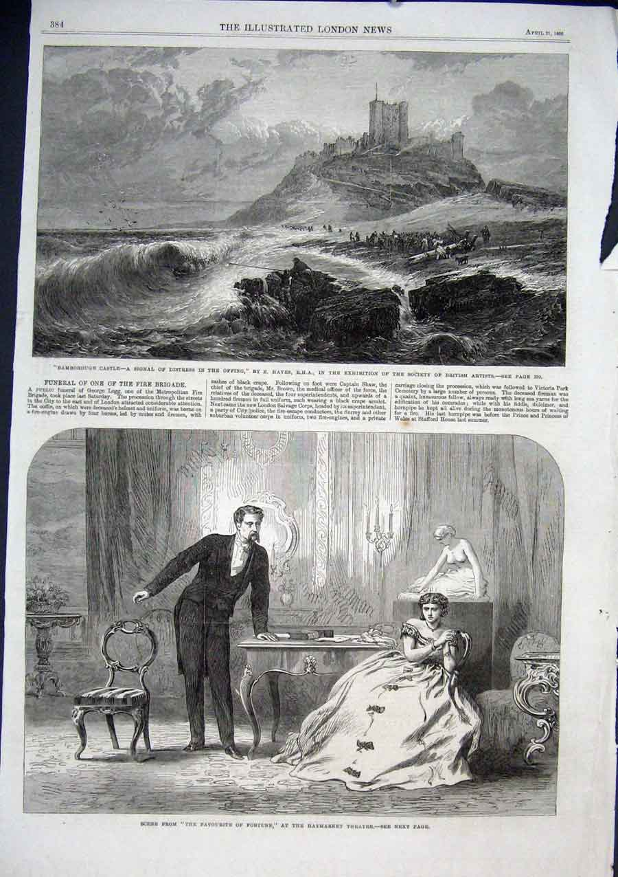 Print Bamborough Castle By Hayes 1866 Distres Signa 84Aaa0 Old Original