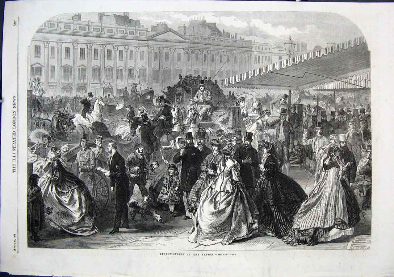 Print Regent Street London In Season 1866 97Aaa0 Old Original