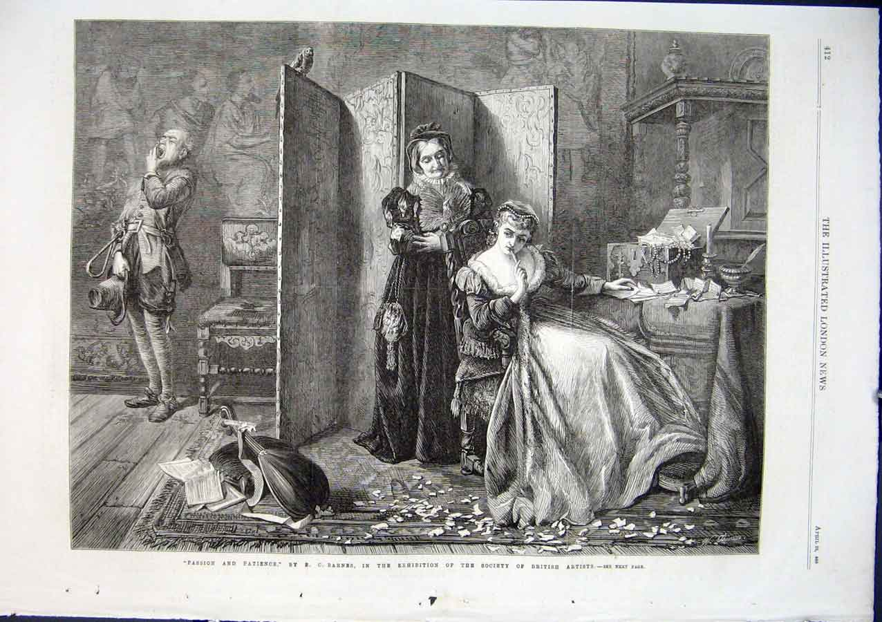 Print Passion & Paitence By Barnes 1866 Fine Ar 12Aaa0 Old Original