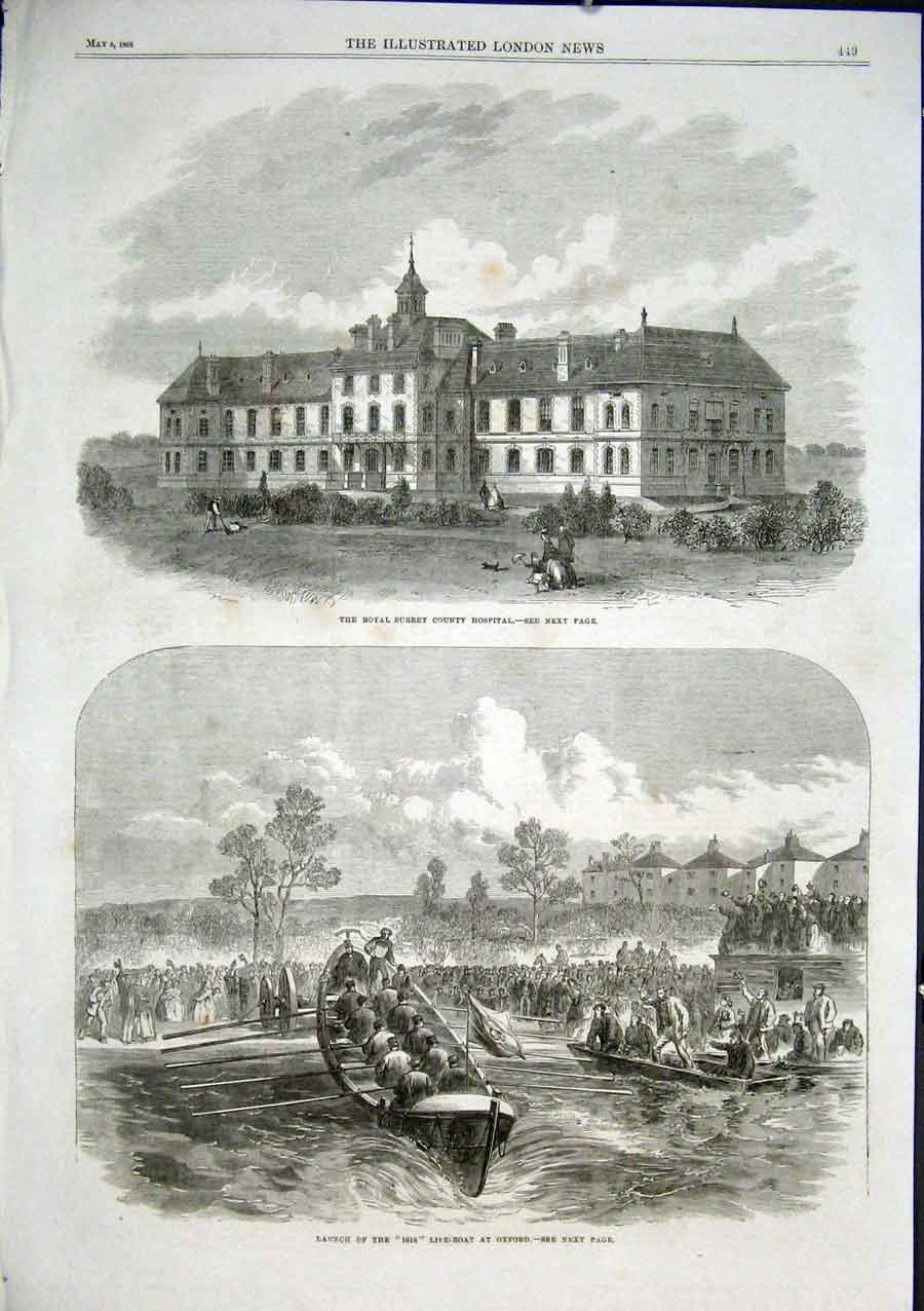 [Print Launch Isis Lifeboat Oxford Surrey County Hospital 186 49Aaa0 Old Original]