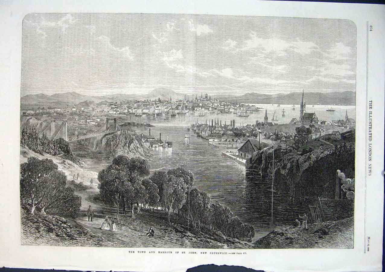 Print Town Harbour New Brunswick 1866 Canada 64Aaa0 Old Original