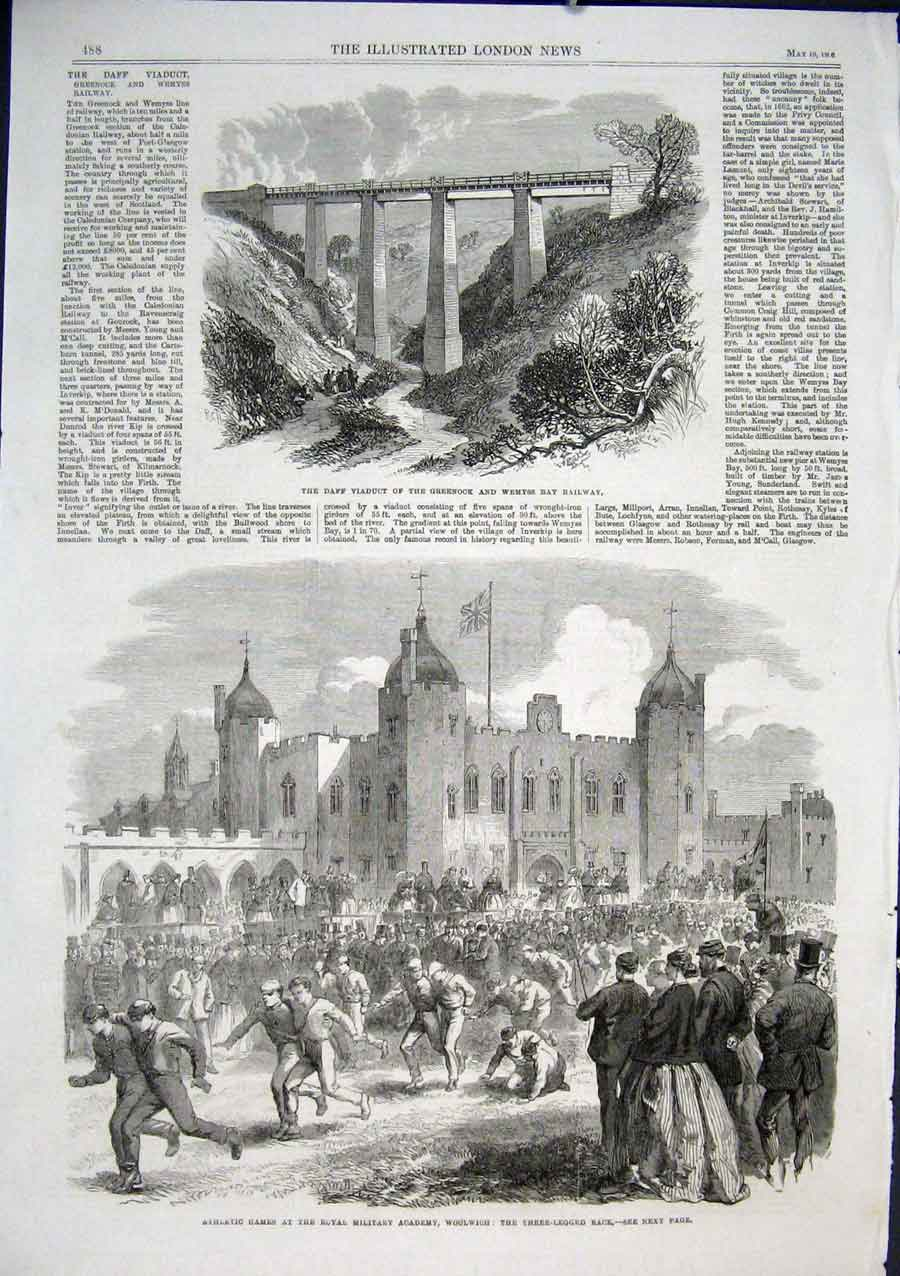 Print Three Legged Race Military Athletic Games Woolwich 1866 88Aaa0 Old Original