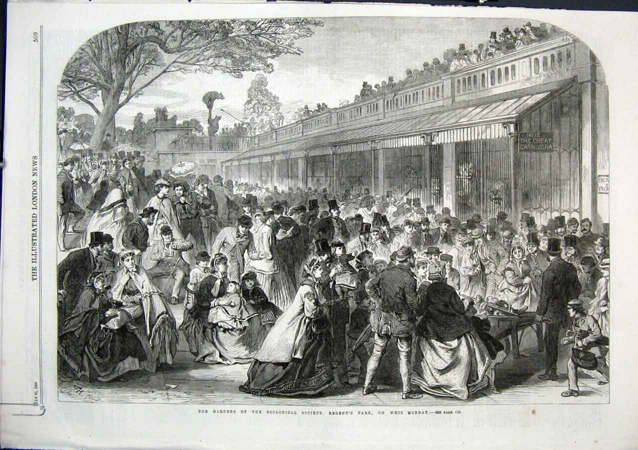 Print Horticultural Gardens Regents Park On Monday 1864 09Aaaa0 Old Original