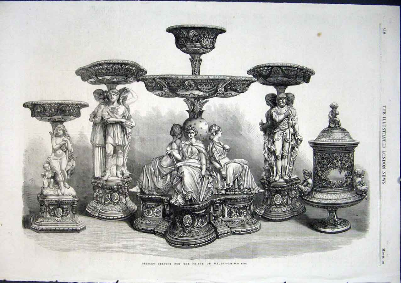Print Silver Desert Service For Prince Wales 1866 12Aaa0 Old Original