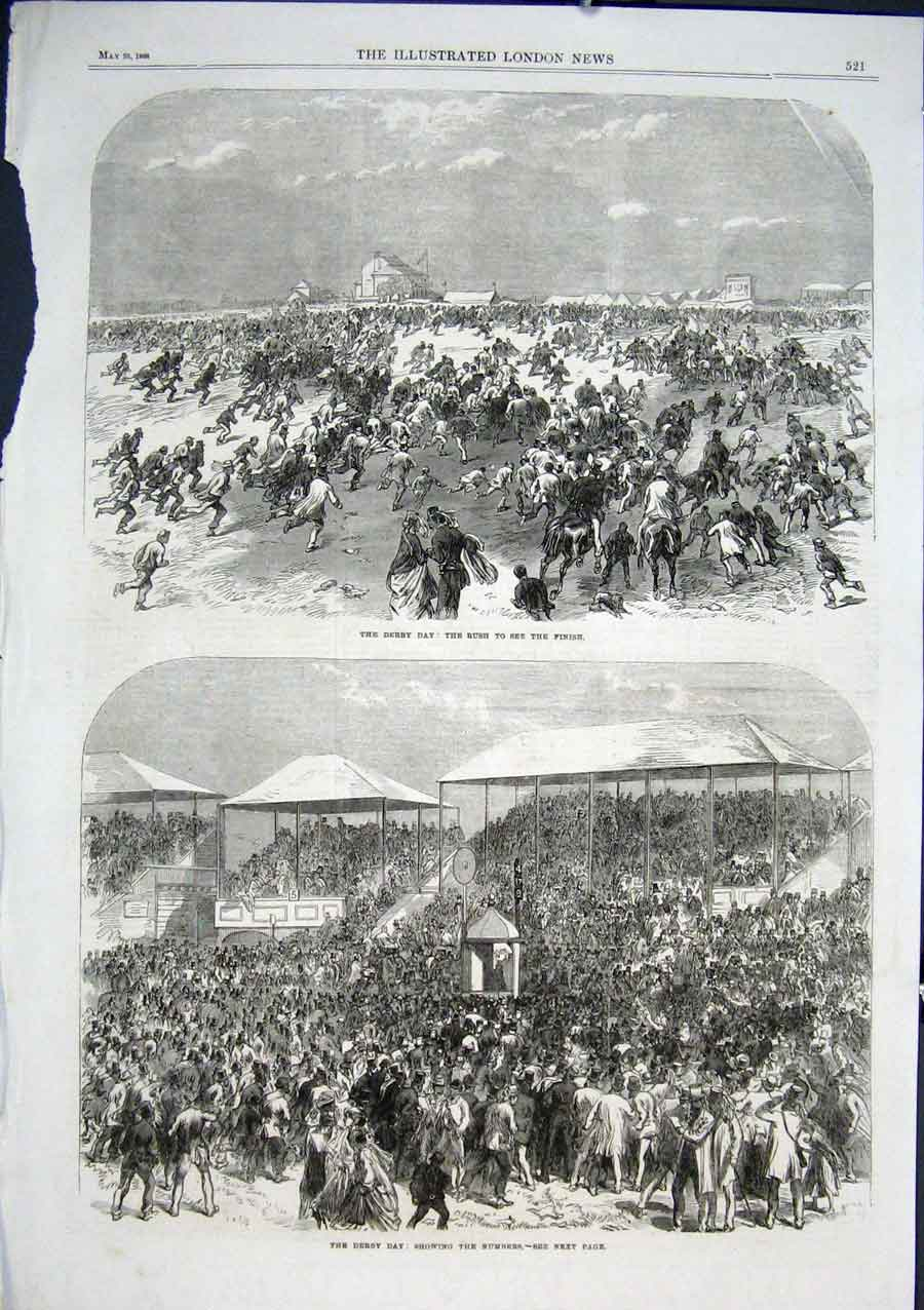 Print Derby Day Rush To Finish 1866 21Aaa0 Old Original