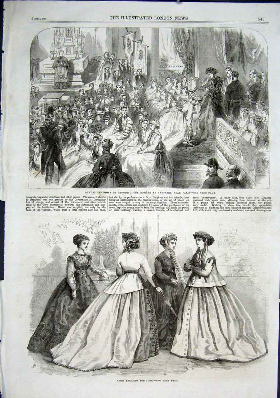 Print Crowning The Rosiere At Nanterre Paris France 1866 45Aaa0 Old Original