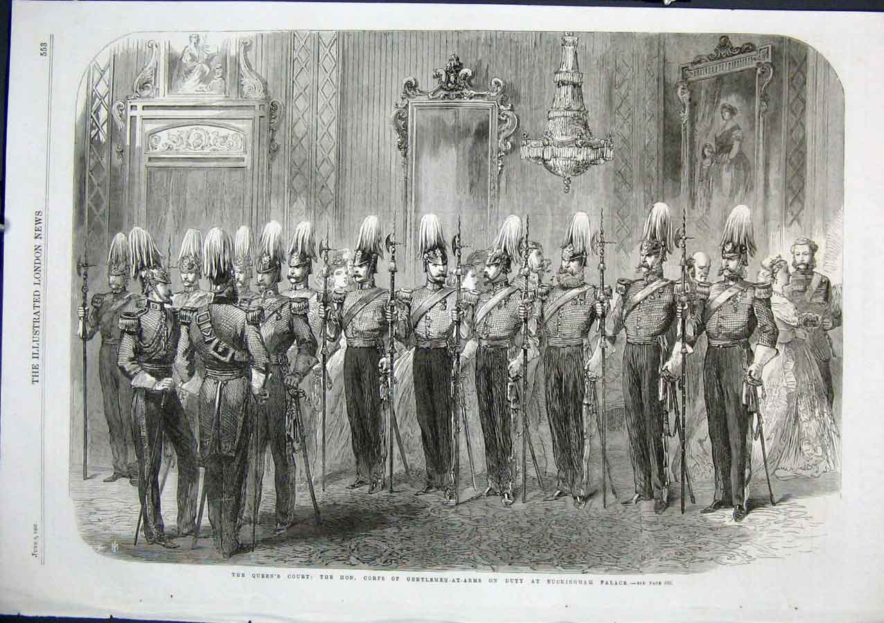 Print Gentle At Arms Buckingham Palace 1866 Queen Court 53Aaa0 Old Original