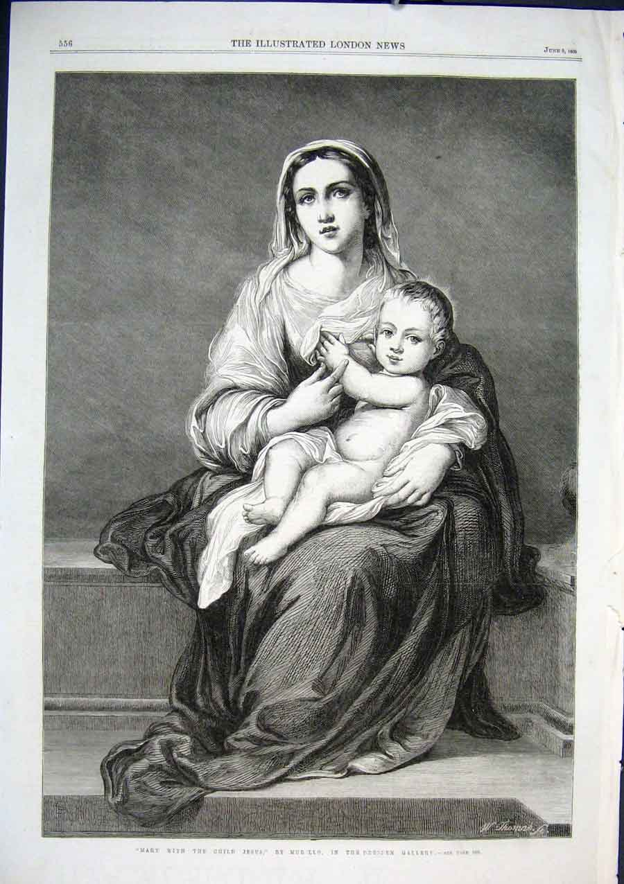Print Mary With Child Jesus By Murillo 1866 Art 56Aaa0 Old Original