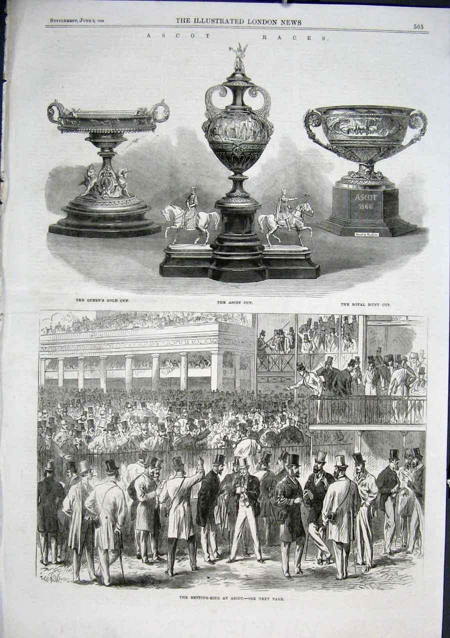 Print The Cup Ascot & Betting Ring 1866 65Aaa0 Old Original
