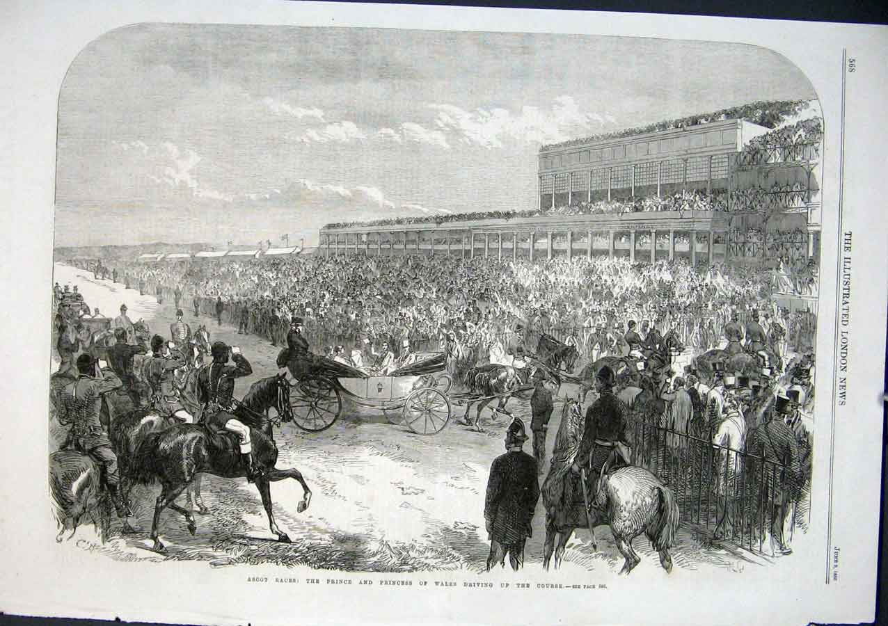 Print Ascot Horse Races Driving Up The Course 1864 68Aaa0 Old Original