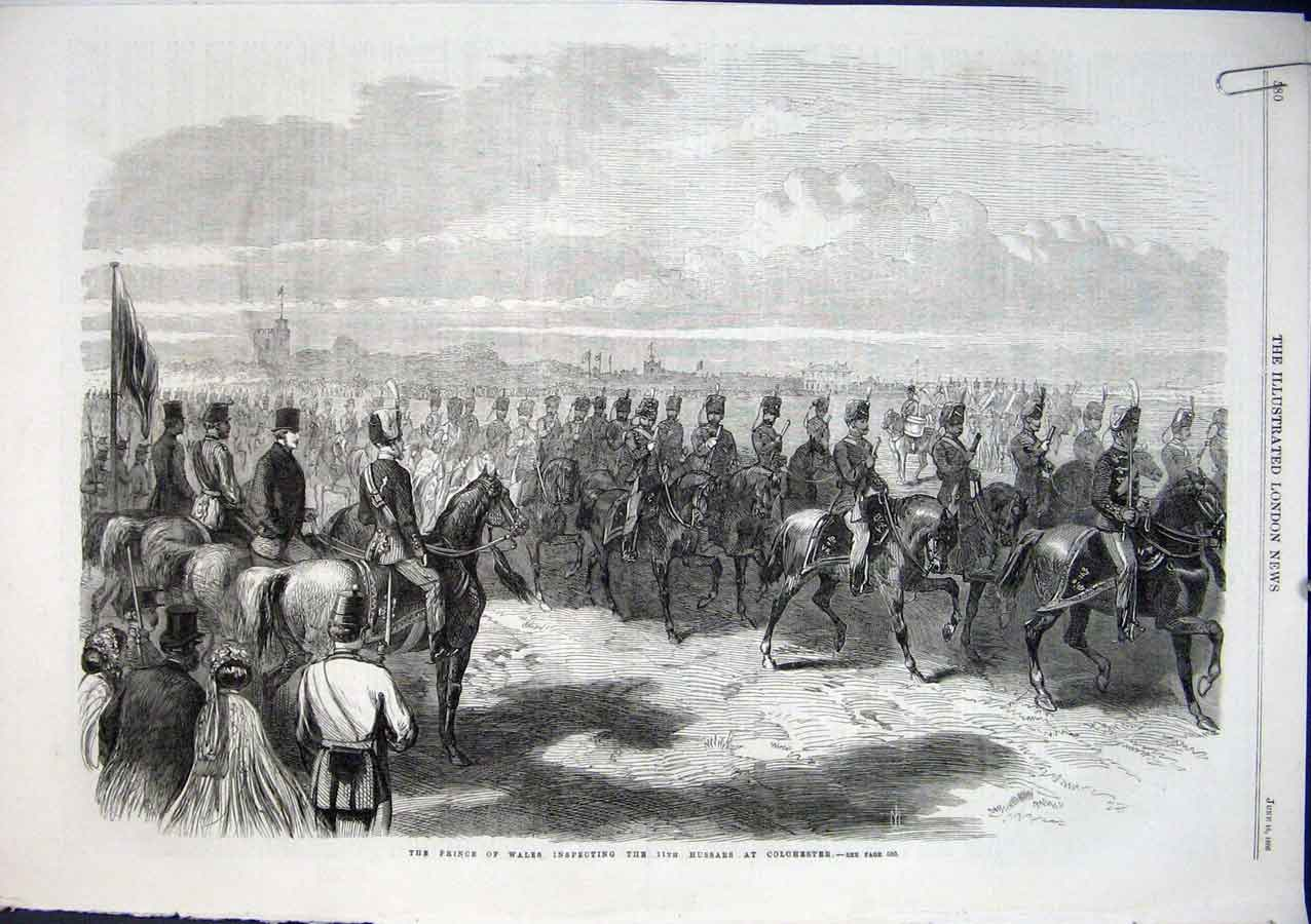 Print Prince Wales Inspects Hussars At Colchester 1864 Army 80Aaaa0 Old Original