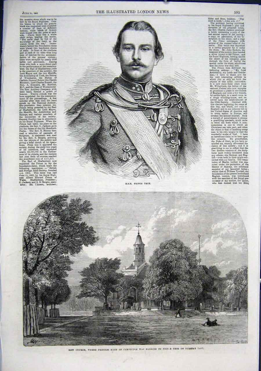 Print Hrh Prince Teck 1866 Kew Church 93Aaaa0 Old Original