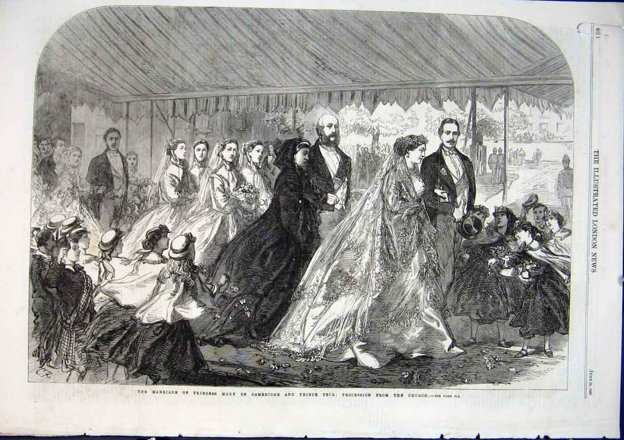 Print Marriage Princess Mary Cambridge To Princeteck 1864 00Aaaa0 Old Original