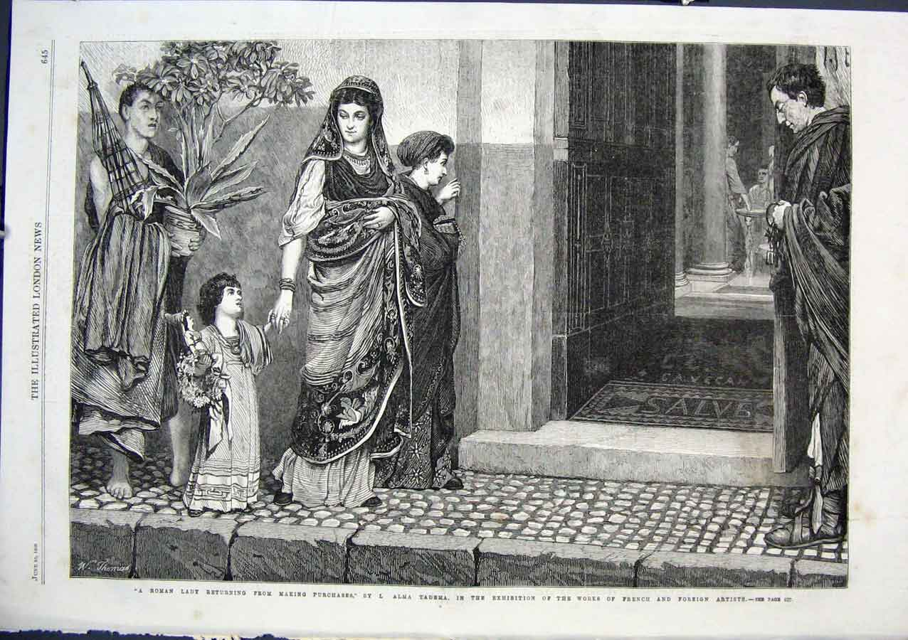 Print Roman Ladt Returning From Shopping By Alma Tadema 1864 45Aaa0 Old Original