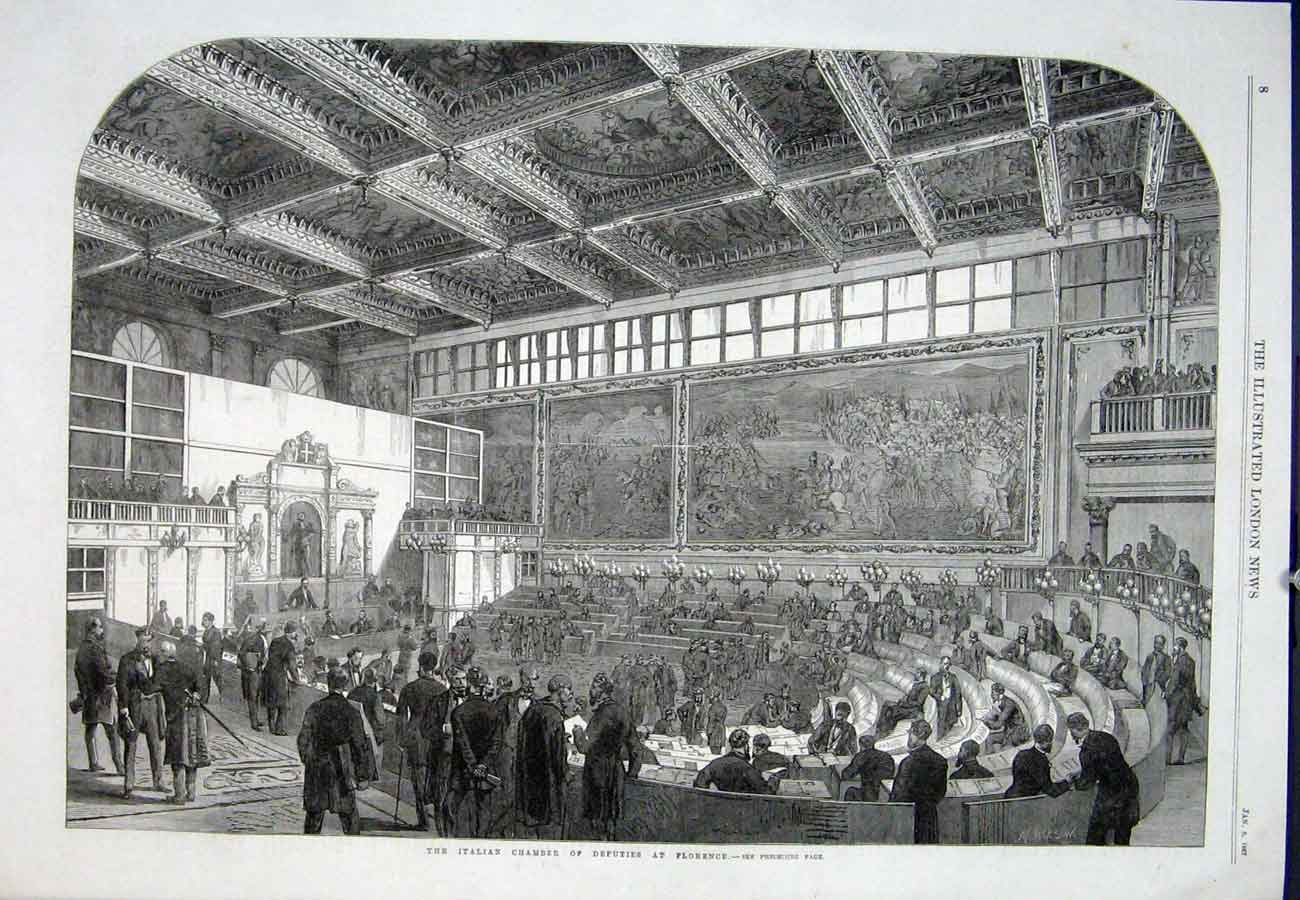 Print Florence Italian Chamber Deputies 1867 08Aaa0 Old Original