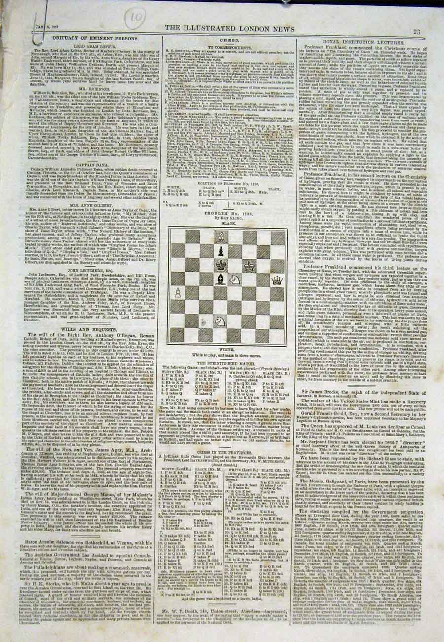 Print Chess Problems And Solutions 1867 23Aaa0 Old Original