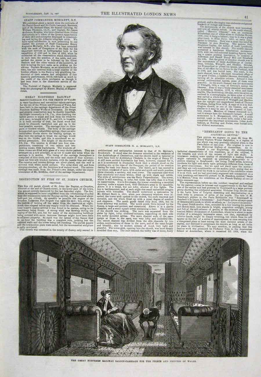 Print Portrait Moriarty Great Northern Railway Carriage 1867 41Aaa0 Old Original