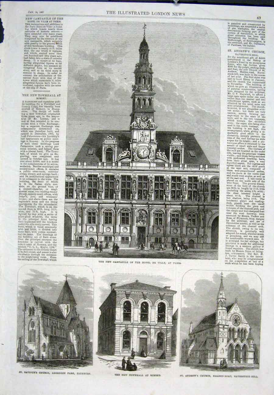 Print Paris Campinile Hotel De Ville Church Townhall 1867 49Aaa0 Old Original