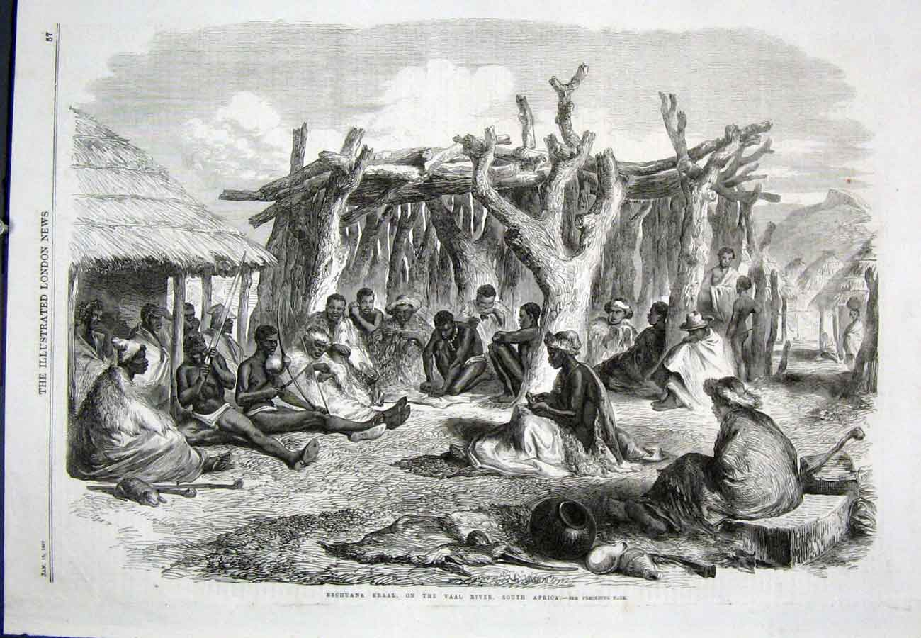 Print Bechuana Krall South Africa Vaal River 1867 57Aaa0 Old Original
