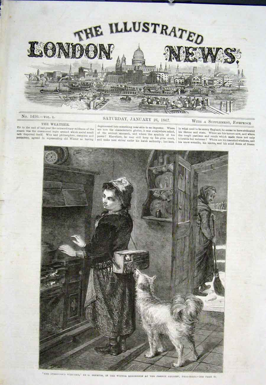 Print Strangers Welcome Bonavia Pall Mall Girl Dog 1867 78Aaa0 Old Original