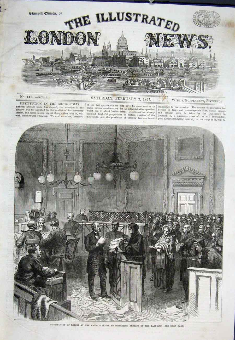 Print Mansion House East End London 1867 02Aaa0 Old Original