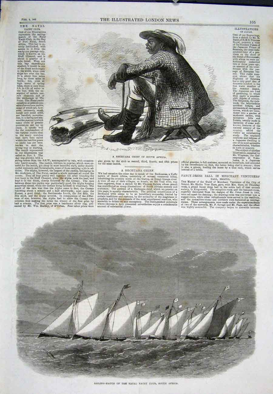 Print Bechuana South Africa Natal Yacht Club Sail Boat 1867 05Aaa0 Old Original