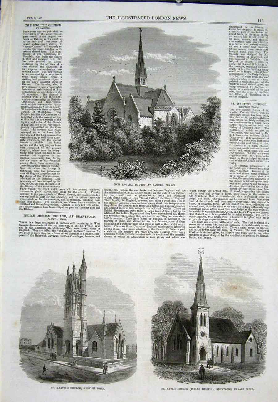 Print Church Cannes France Kentish Canada West 1867 13Aaa0 Old Original