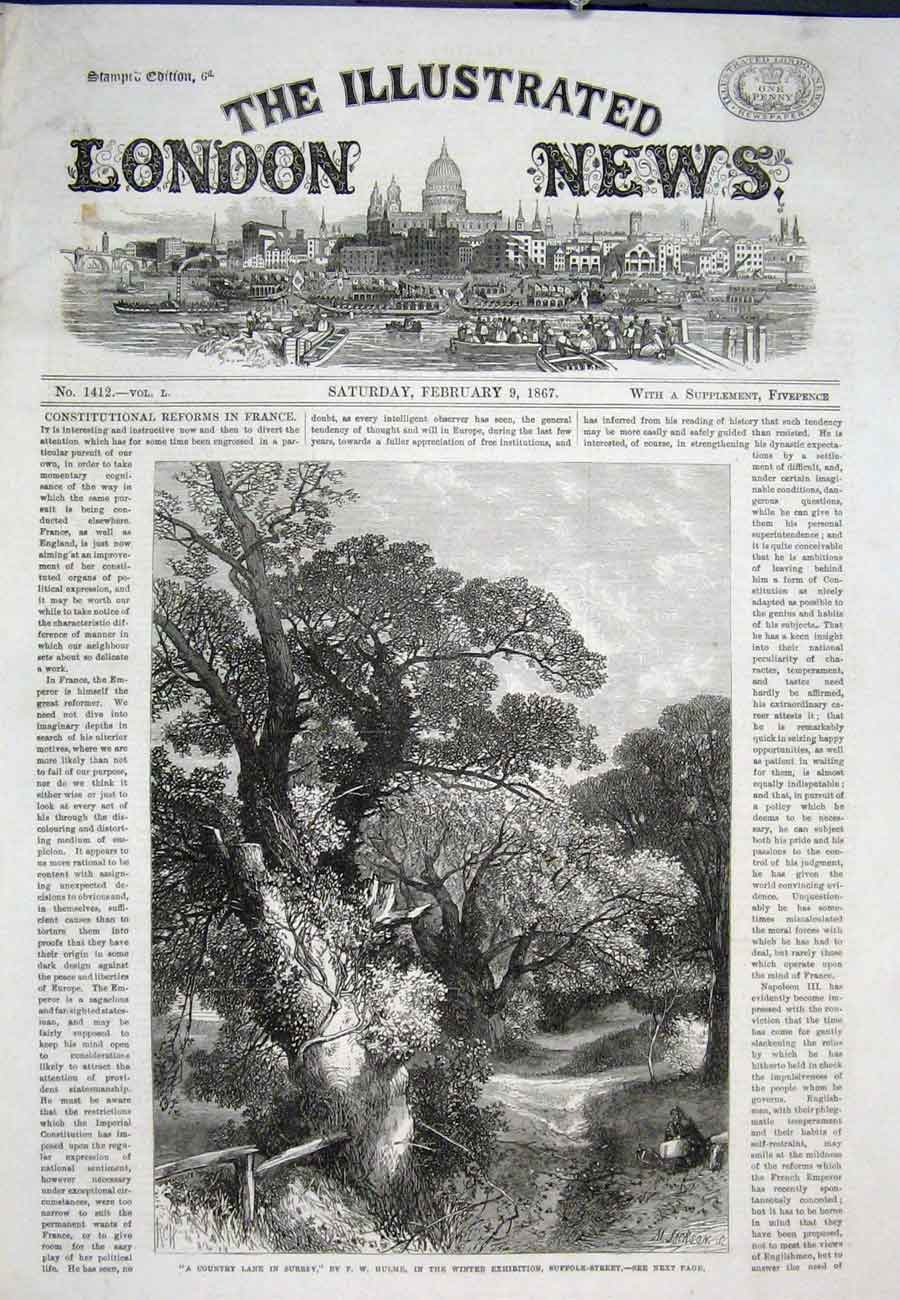 Print Hulme Country Lane Suffolk Artist 1867 26Aaa0 Old Original