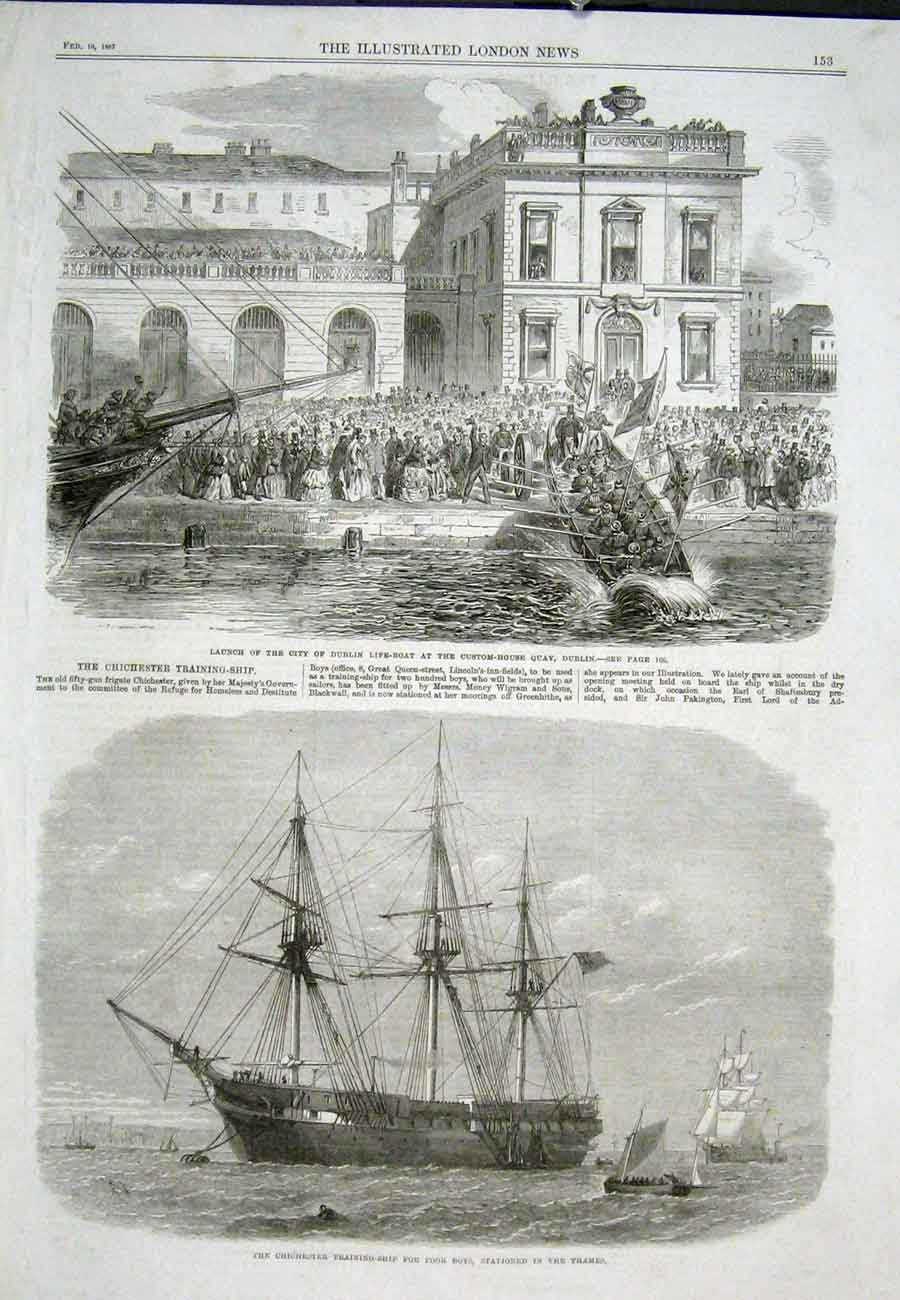 Print Dublin Life-Boat Chichester Thames Ship 1867 53Aaa0 Old Original