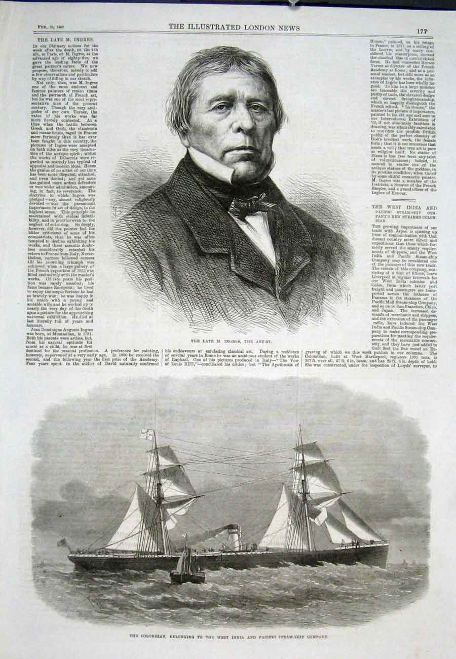Print Portrait Ingres Artist Colombian Steam Ship 1867 77Aaa0 Old Original