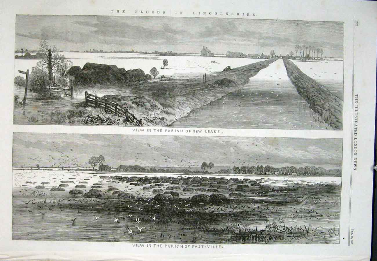 Print Parish Eastville New Leake Floods Lincolnshire 1867 92Aaa0 Old Original