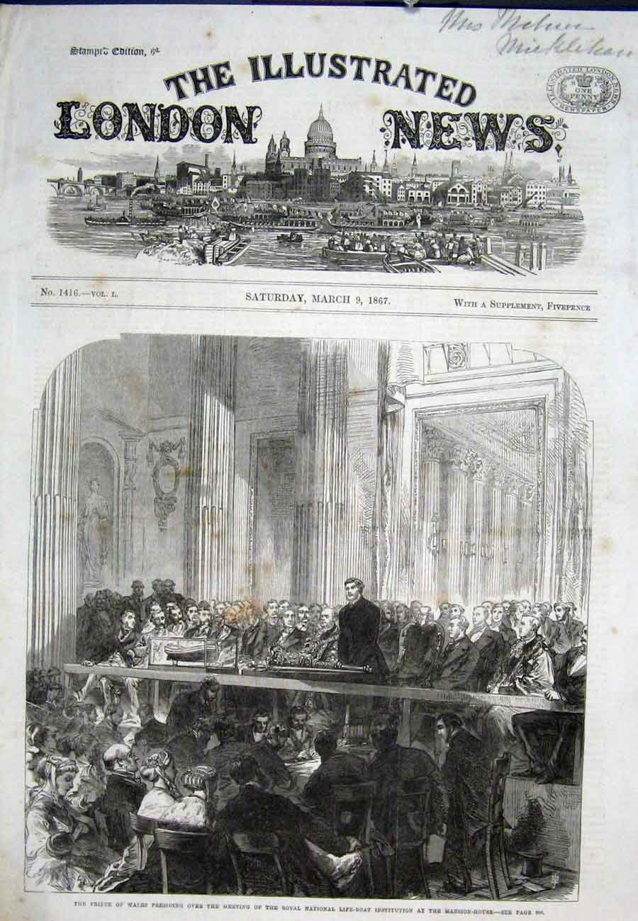 Print Life Boat Institution Mansion House London 1867 22Aaa0 Old Original