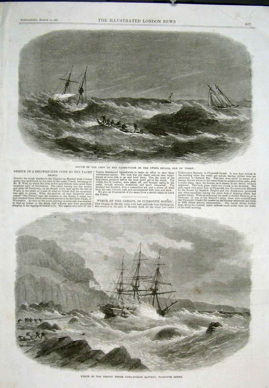 Print Caber-Faigh Isle Wight Oregon Wreck Plmouth Ship 17Aaa0 Old Original