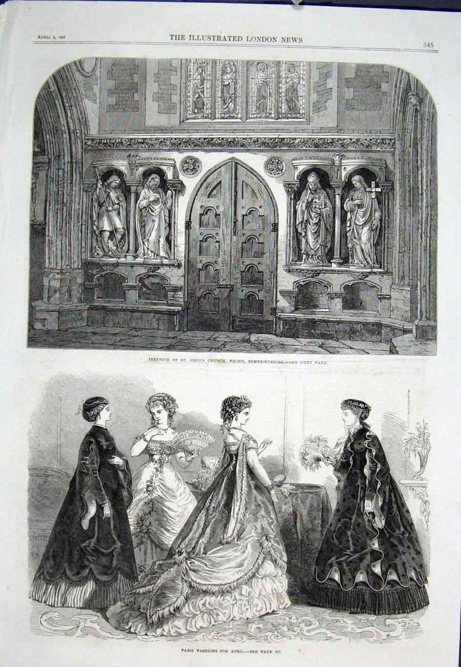 Print St John'S Church Frome Somerset Paris Fashion 1867 45Aaa0 Old Original